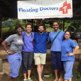 UC Santa Cruz alum Angel Martinez with Floating Doctors colleagues in Panama.