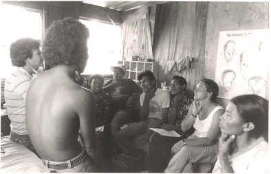 Smith training Community Health Workers with Nicaraguan Ministry of Health in 1987